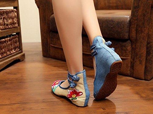 amp; Chaussures femme Chaussures de panneau bleu casual à Semelle style confortable à mode pour brodée l'augmentation l'intérieur M Y ethnique d7wfzxqEd