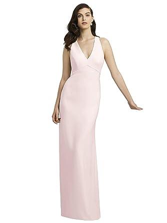 509ca0218771e Amazon.com  Dessy Style 2938 Floor Length Crepe Trumpet Skirt Formal Dress  - Open Back Halter V-Neck  Clothing