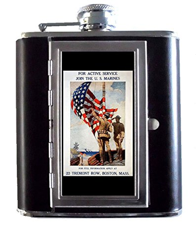 World War I U.S. Marines Flag 5oz Stainless Steel & Leather Hip Flask with Built-In Cigarette Case