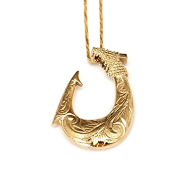 tribal fish dp hawaiian makau hook pendant bone fin necklace