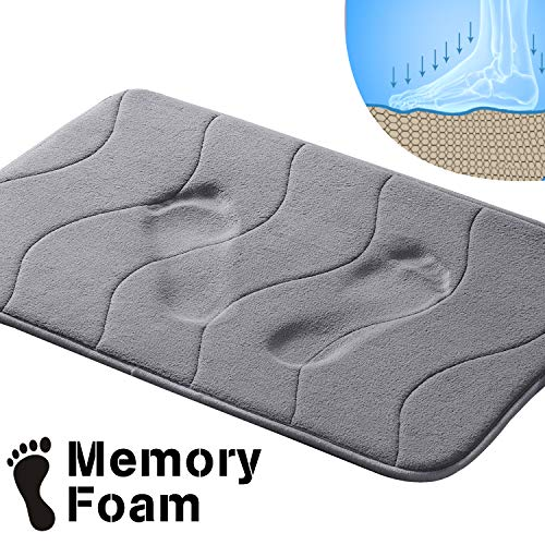 Memory Foam Coral Fleece Non Slip Bathroom Mat, Super Soft Microfiber Bath Mat Set Machine Washable Bath Rugs Set Super Absorbent Thick and Durable Bath Rugs 17W X 24L Inches (Gray Waved Pattern) (Washing Machine Water Backing Up Into Kitchen Sink)