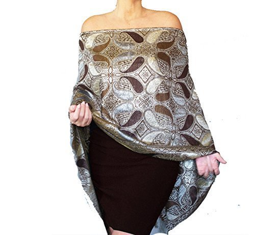 6e8dcd37928 Amazon.com  Plus Size Metallic Brown And Silver Wedding Shawl Wrap By ZiiCi   Handmade