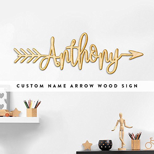 Custom Arrow Name or Word Rustic Wood Sign Home Nursery Décor Wall Art (Art Word Custom)
