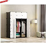 Modern Clothing Wardrobe Closet Storage Organizer Waterproof Attractive Design Home Extra Storage For Blankets Pillows Sheet 12 Boxes Easy Cleaning Lightweight White and Black & eBook by BADA shop
