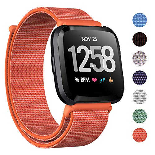 - CAVN Nylon Bands Compatible with Fitbit Versa/Versa Lite Bands for Women Men, Breathable Watch Strap Adjustable Closure Replacement Wristband Accessories (Orange)