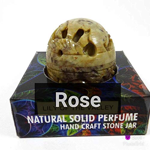 - Natural Rose Solid Perfume in Hand Crafted Stone Jar India 8 gm