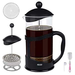 Portable French Press Coffee Maker with Stainless Steel Triple Filter and Heat Resistant Glass, Hand-pressed Filter Tea Cups 34oz