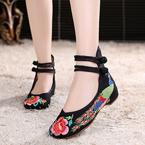 Minetom Vintage Estilo Chino Pintura de Tinta de Plataforma Mary Jane Merceditas de Mujer Flores Bordado Cómodo Casual Zapatos de Party Dress Negro