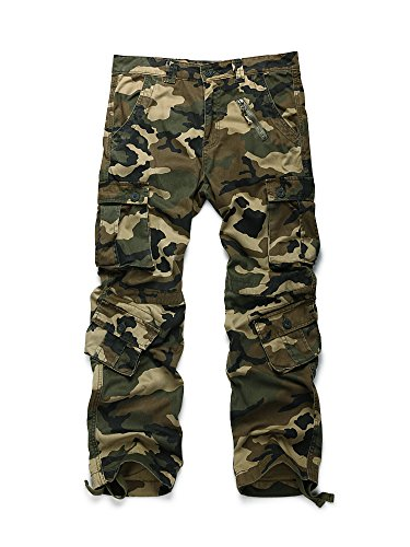 - OCHENTA Men's Cotton Military Cargo Pants, 8 Pockets Casual Work Combat Trousers #3357 Army Green Camo 40