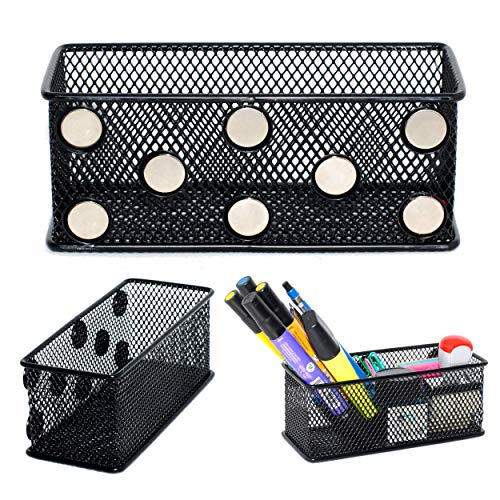 (Magnetic Locker Organizers/Pen and Pencil Holders | 3-Pack | File Cabinet, Metal Desk, Fridge and Locker Wire Mesh Storage Baskets with Super Strong Magnets | Whiteboard Dry Erase Marker Bins)
