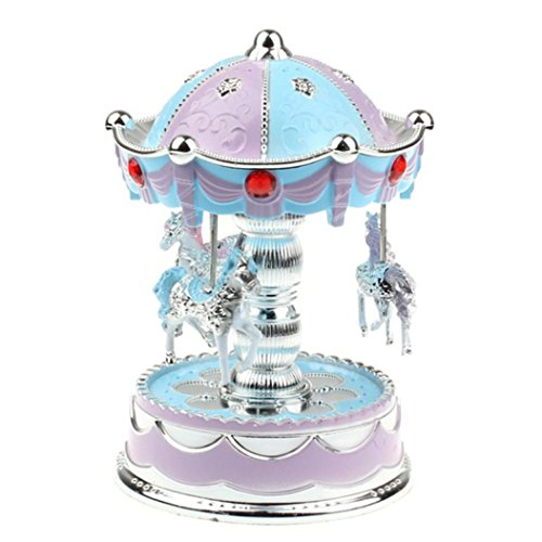 Music Box for Girls, Amamary88 Colorful Bling Bling Merry-Go-Round Music Box Christmas Birthday Gift Carousel Music Box (Purple) (Cristmas Merry)