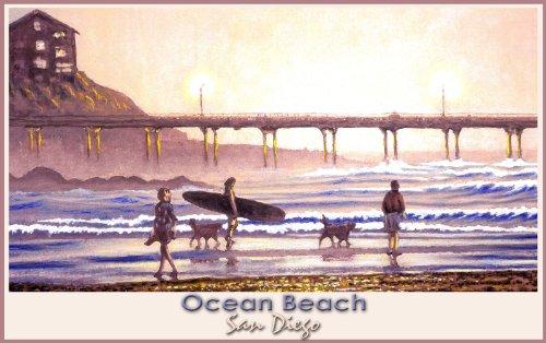 Northwest Art Mall San Diego California Ocean Beach Walkers by David Linton Wall Decor, 11-Inch by - In San California Malls Diego