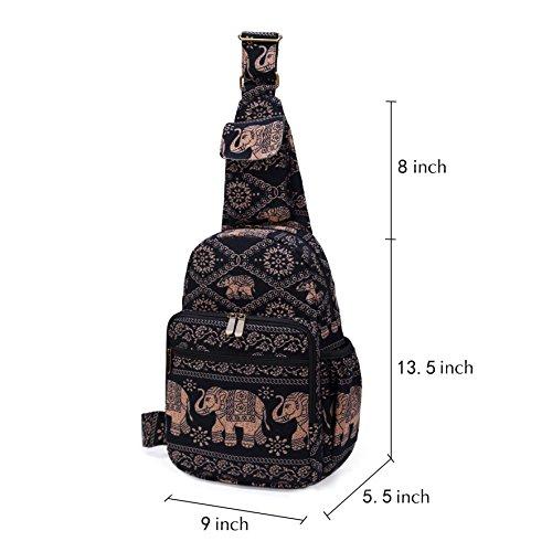 MIANZI Women Sling Bag Outdoor Sport Canvas Large capacity Crossbody Shoulder Cotton Fashion Backpack (Black) by MIANZI (Image #5)