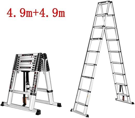 GLJJQMY Escalera telescópica Escalera multifunción para Uso doméstico Escalera Plegable para Interiores Escalera de Doble Cara Ingeniería de aleación de Aluminio (Size : 4.9m+4.9m): Amazon.es: Hogar