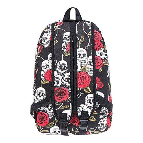 Blue Black Banana Backpack Skull Red Rose Rxq7rvwR0