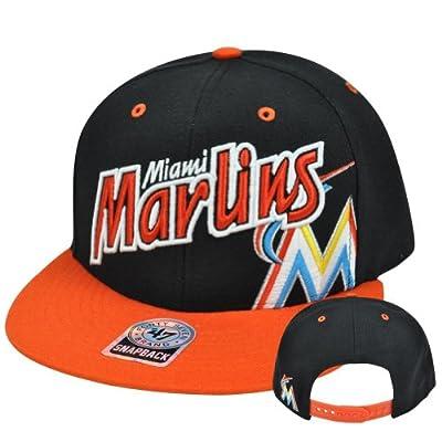 MLB '47 Brand Miami Marlins Underglow MVP Wool Snapback Flat Brim Hat Cap Blk