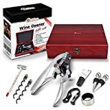 Orblue Rabbit Wine Corkscrew Gift Set 9 pc w/Premium Wood Case - The All in One Accessory Kit for any Vino Enthusiast