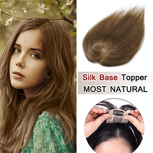 SEGO 100% Density Top Hair Pieces Silk Base Crown Topper Human Hair Clip in Hair Toppers Top Hairpieces for Women with Thinning Hair Gray Hair/Hair Loss #06 Light Brown 16 Inch 30g