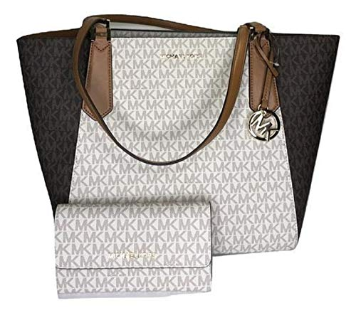 dc0233629241 MICHAEL Michael Kors Kimberly Large Bonded Tote bundled with Michael Kors  Jet Set Travel Large Trifold Wallet (Signature MK Brown/Vanilla)