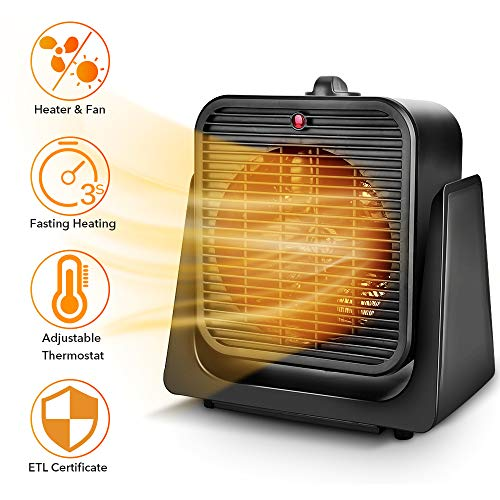 TRUSTECH 2 in 1 Space Heater with Heating & Cooling Mode, Tip Over & Overheat Protection, 750W/1500W Portable Electric Heater Personal Small Heater Fan for Office, Home