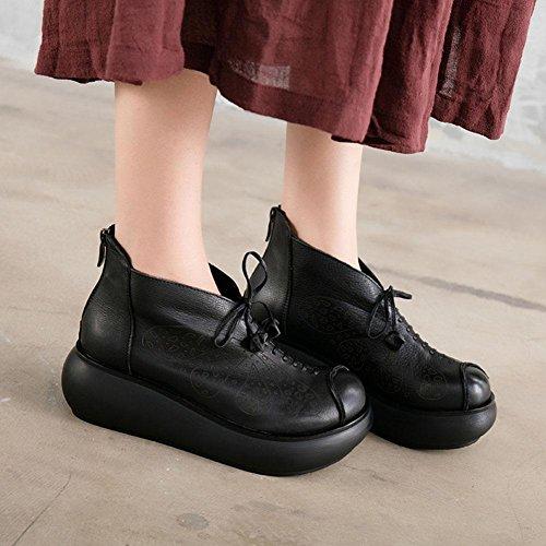 Hauts En Zip Bottes custom Talons Folk Retour Dames Black Femmes Véritable 36 Plateforme Épais Xie Fond À Lacets L'eau Chaussures Imperméable Cuir BwnAIFWqT