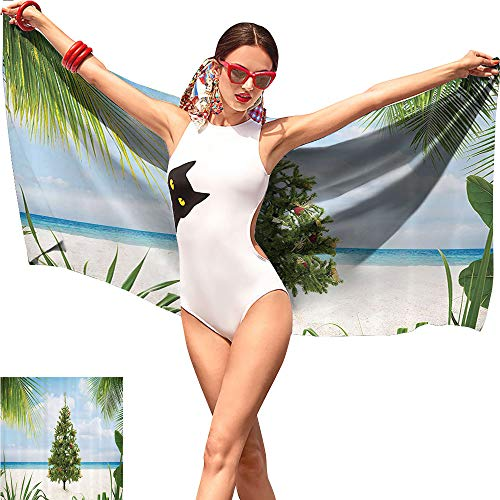 Gabriesl Christmas Beach Towel Tree with Tinsel and Ornaments Tropical Island Sandy Beach Party Theme Green Blue Cream,Pattern Beach Towel W31 x L63