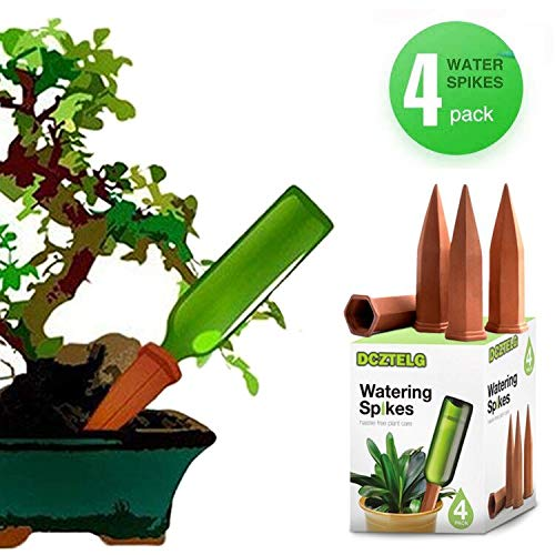 DCZTELG Plant Watering Spikes Devices Wine Bottle Garden Terracotta Slow Release Self Irrigation Watering System 4 Pack (TC4-pack) by DCZTELG (Image #1)