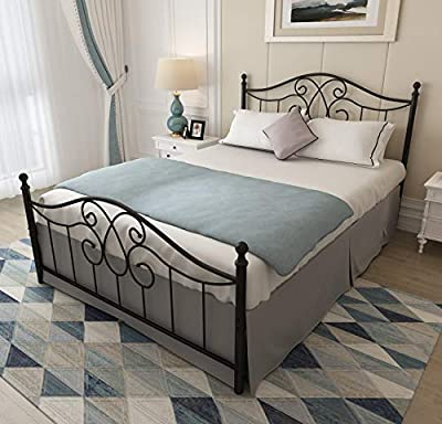 6603 6606 Vintage Sturdy Metal Bed Frame with Headboard