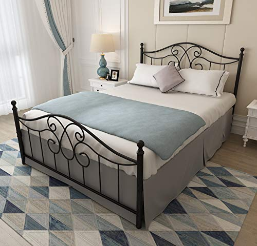 Keelaning Vintage Sturdy Queen Size Metal Bed Frame with Headboard and Footboard Basic Bed Frame No Box Spring Needed (Queen, Black) (Metal Queen Headboards Size)