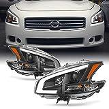 Nissan Maxima Accessories & Parts - Fits 2009 2010 2011 2012 2013 2014 Nissan Maxima LED DRL Light Tube Projector Front Headlamps - Black