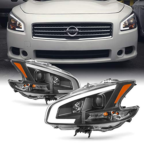 Fits 2009 2010 2011 2012 2013 2014 Nissan Maxima LED DRL Light Tube Projector Front Headlamps - ()