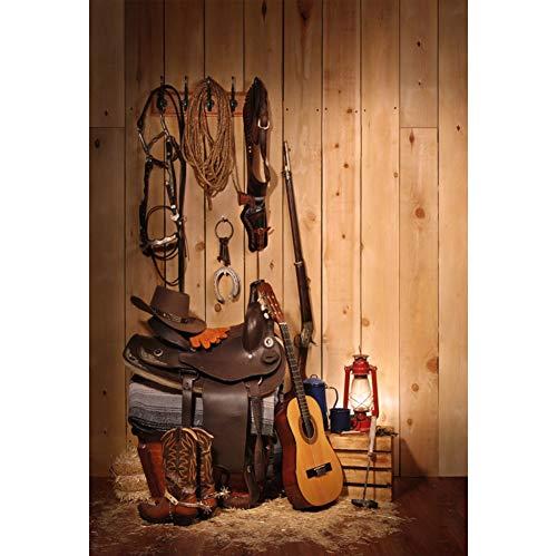 CSFOTO 4x6ft Cowboy Backdrop Wood House Guitar Boots Lantern Hat Shotgun Hat Hemp Rope Photography Background Farmer Portrait Shooting Photo Booth Film Studio Video Props Wallpaper ()