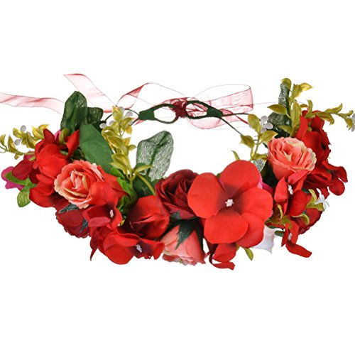 Vivivalue Rose Flower Crown Boho Flower Headband Hair Wreath Floral Headpiece Halo with Ribbon Wedding Party Festival Photos Red