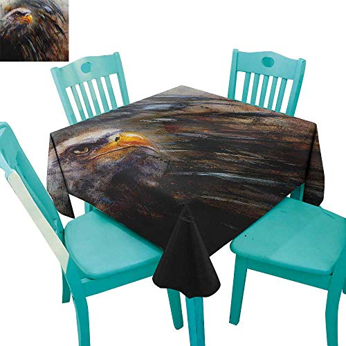 longbuyer Eagle,Washable Tablecloth,Painting Style Bird with Black Feathers on Abstract Backdrop Symbol of USA,54