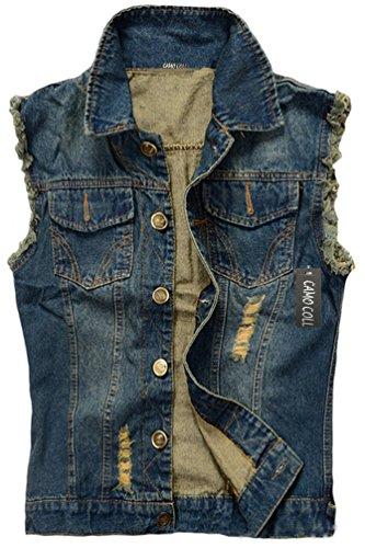 (Camo Coll Men's Sleeveless Lapel Denim Vest Jacket (M, Dark Blue))