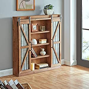 FirsTime & Co. Westerly Farmhouse Barn Door Cabinet, Rustic Brown, 34 x 5.5 x 33 , , 34 inches
