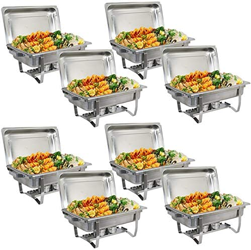 ZenChef New Version 8 Qt Stainless Steel Chafing Dish, Full Size Chafer, Food Warmer with Water Pan, Food Pan, Fuel Holder and Lid 8