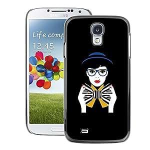 A-type Arte & diseño plástico duro Fundas Cover Cubre Hard Case Cover para Samsung Galaxy S4 (Bowtie Black Woman Glasses)