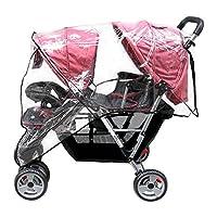 Aligle Weather Shield, doble popular para cochecito de rueda giratoria, tamaño universal, cubierta para lluvia para bebé /protector de viento (Negro)