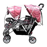 Aligle Weather Shield Double Popular for Swivel Wheel Stroller Universal Size Baby Rain Cover Wind Shield Deal (Black)