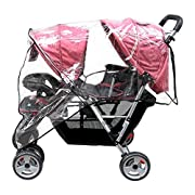 Aligle Weather Shield Double Popular for Swivel Wheel Stroller Universal Size Baby Rain Cover/Wind Shield Deal (Black)