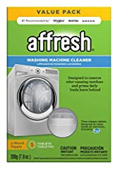 Affresh Washing Machine Cleaner deep cleans to help remove the odor-causing residues and grime that daily loads leave behind. The time-release tablets are EPA Safer Choice certified, septic-safe and designed to clean inside all machines, incl...