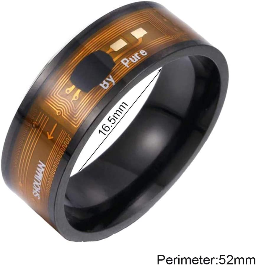 SMARTJEWELS Smart NFC RFID Ring: Door Access Manage NFC Android Devices and APPs 7, Ebony for Men and Women