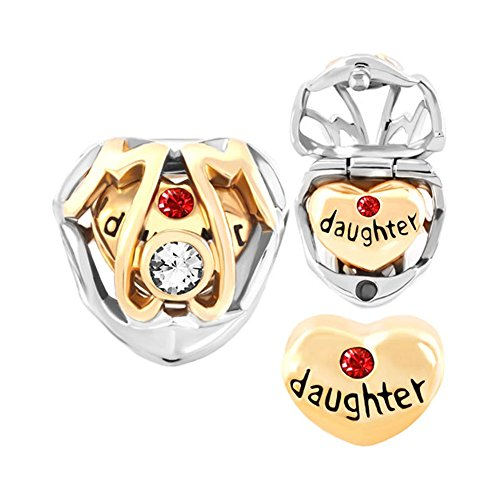 LovelyJewelry Mom Mother Daughter Charms Heart Beads Fit Pandora Charms Bracelet