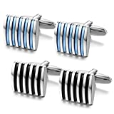 Jstyle Black Blue Cufflinks for Men Shirt Cufflinks Set Unique Business Wedding