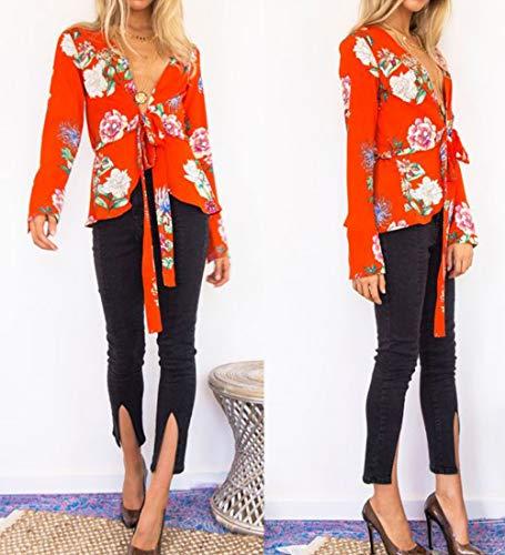 Moda Maglie E Manica Maglietta T fashion Autunno Con shirts A Sottile Lunga Camicie Bluse Simple Stampa Rosso Casual Bende Primavera Donne Tops Ew4O7O