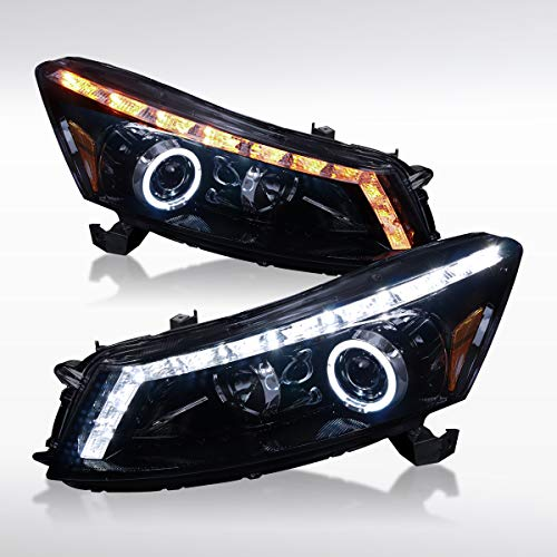 Autozensation For Honda Accord 4DR Sedan Glossy Black Halo LED Signal Projector Headlights