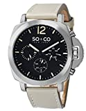 SO & CO New York  Men's 5022.2 SoHo Day and Date Watch with Champagne Leather Strap