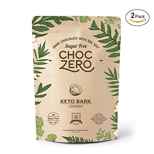 (ChocZero's Keto Bark, Dark Chocolate Coconuts with Sea Salt. Sugar Free, Low Carb. No Sugar Alcohols, No Artificial Sweeteners, All Natural, Non-GMO (2 bags, 6 servings/each))