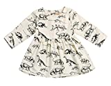 Mini honey Infant Toddle Baby Girls Cotton Dinosaur Print Half Sleeve Skirt Dress Cotton Outfit Clothing